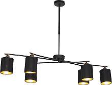 Lampe à suspension moderne noire réglable - Lofty