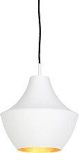 Lampe à suspension scandinave blanche avec or -