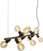 Lampe à suspension scandinave noire 10 lumières