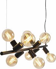 Lampe à suspension scandinave noire 8 lumières -