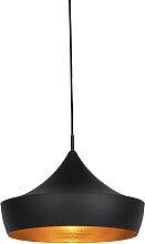 Lampe à suspension scandinave noire avec or -