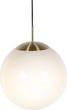Lampe à suspension scandinave verre opale 40 cm -