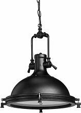 Lampe à suspension style industriel fer verre