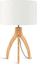 Lampe abat-jour blanc trépied bambou