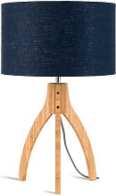 Lampe abat-jour bleu trépied bambou