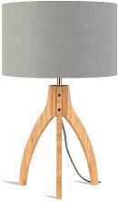 Lampe abat-jour gris clair trépied bambou