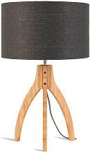 Lampe abat-jour gris trépied bambou