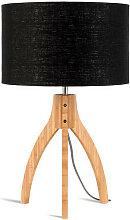 Lampe abat-jour noir trépied bambou