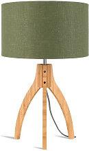 Lampe abat-jour vert trépied bambou