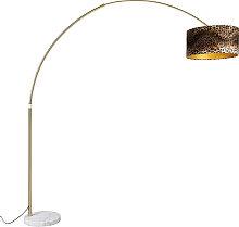 Lampe arc en laiton avec abat-jour en tissu blanc