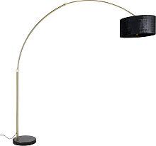 Lampe arc en laiton avec abat-jour en tissu noir
