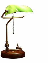 Lampe banquier traditionnel, base en bois massif,