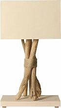 Lampe beige en bois flotté