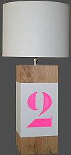 Lampe blanche rose fluo en bois - personnalisable