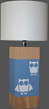 Lampe bleu gris enfant hibou