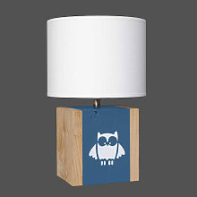 Lampe bleu nuit avec hibou