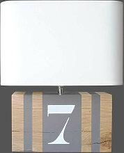 Lampe bois couleur taupe L34