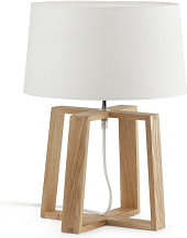 Lampe bois naturel abat-jour blanc