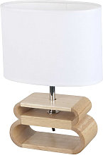 Lampe bois oslo abat-jour blanc