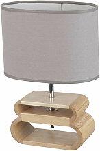 Lampe bois oslo abat-jour gris ciment