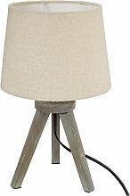 Lampe bois trépied abat-jour LIN H31 - Atmosphera