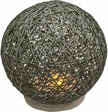 Lampe boule abat-jour gris sur socle ciment -