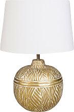 Lampe boule en métal doré abat-jour blanc
