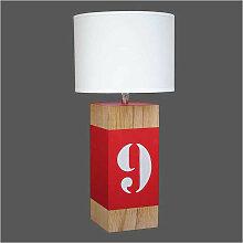 Lampe chevet en bois L34 et bande rouge