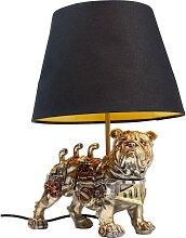 Lampe chien steampunk en polyrésine et abat-jour