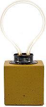 Lampe cube néon en béton jaune fabrication