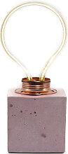 Lampe cube néon en béton rose fabrication