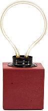 Lampe cube néon en béton rouge fabrication
