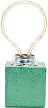 Lampe cube néon en béton turquoise fabrication
