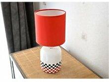 Lampe cylindre interior à l'abat jour rouge