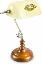 Lampe de banquier avec abat-jour jaune en verre et