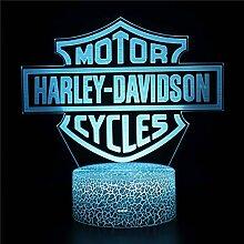 Lampe de bureau 3D Illusion Harley 16 couleurs