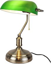 Lampe de Bureau Banquier - Opaline verte - 37 CM -