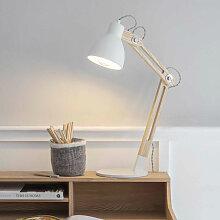 Lampe de bureau en bois et métal blanc