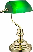 Lampe de bureau en laiton - Abat-jour rétro -