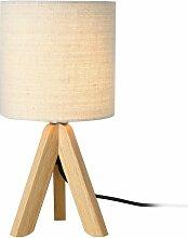 Lampe de bureau table liseuse trépied bois lin