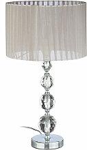 Lampe de chevet abat-jour tissu voile boules verre