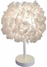 Lampe de chevet de fleur de soie blanche abat-jour
