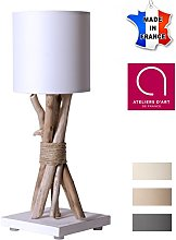 Lampe de chevet/de table en bois flotté BLANC -