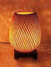 Lampe de chevet en bambou tressé double peau +