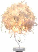 Lampe de chevet en plumes avec cristal en forme de