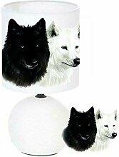 Lampe de chevet Loup blanc et Loup noir création
