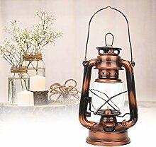 Lampe de kérosène en bronze, fer + verre rétro