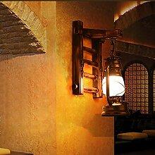Lampe de kérosène rétro Lampe murale en bois