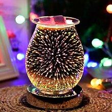 Lampe de nuit feu d'artifice en verre 3D,