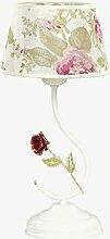 Lampe de table à fleurs en tissu avec abat-jour